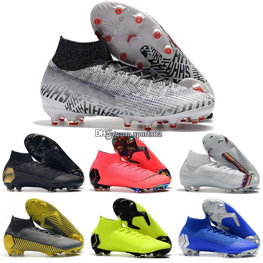 super popular 43944 9d1cb Mercurial Superfly VI 360 Elite Neymar AG/FG CR7 Ronaldo Neymar kids men s  women s High Ankle Soccer Cleats Football Shoes Size:35-45