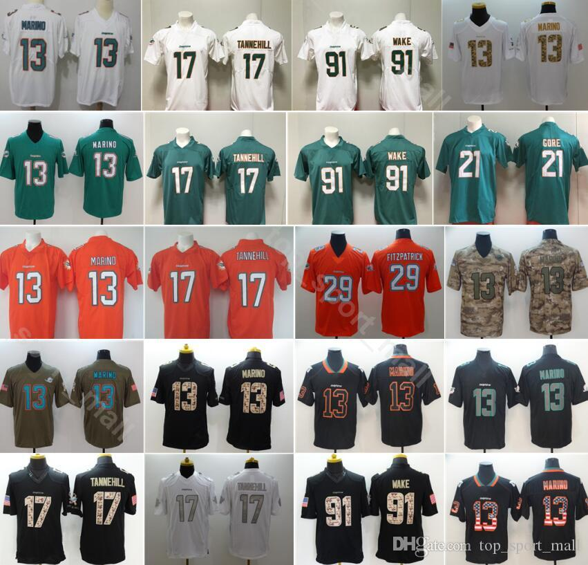 huge discount 7e469 3f7c2 Men Miami Football 13 Dan Marino Jersey Dolphins 17 Ryan Tannehill 91  Cameron Wake Vapor Untouchable Green White Orange Black Camo