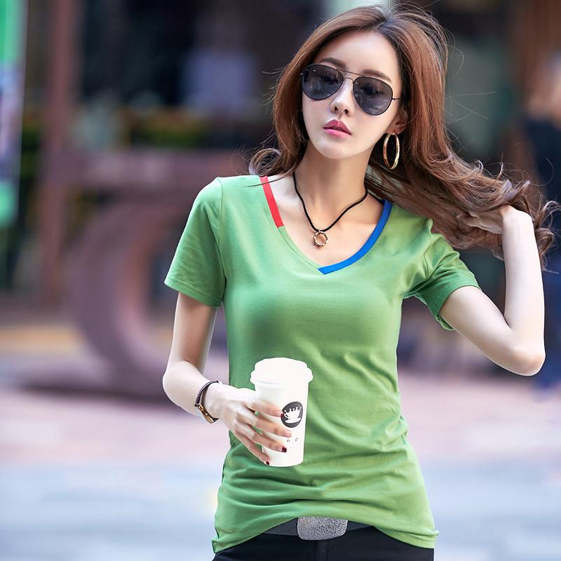 2018 Summer T Shirt Contrast Color Women Tops Tees Cotton Casual T-shirts V-neck Short Sleeve Female White Black Tshirt 2628LY