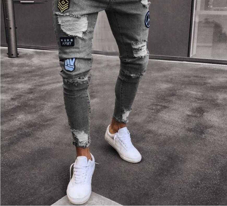 30e2341a98 Compre Pantalones Vaqueros Para Hombre Desgastados Pantalones Vaqueros  Pitillo Desgarrados Hip Hop Delgado Cremallera Volar Más Barato Agujero  Rasgado Lápiz ...