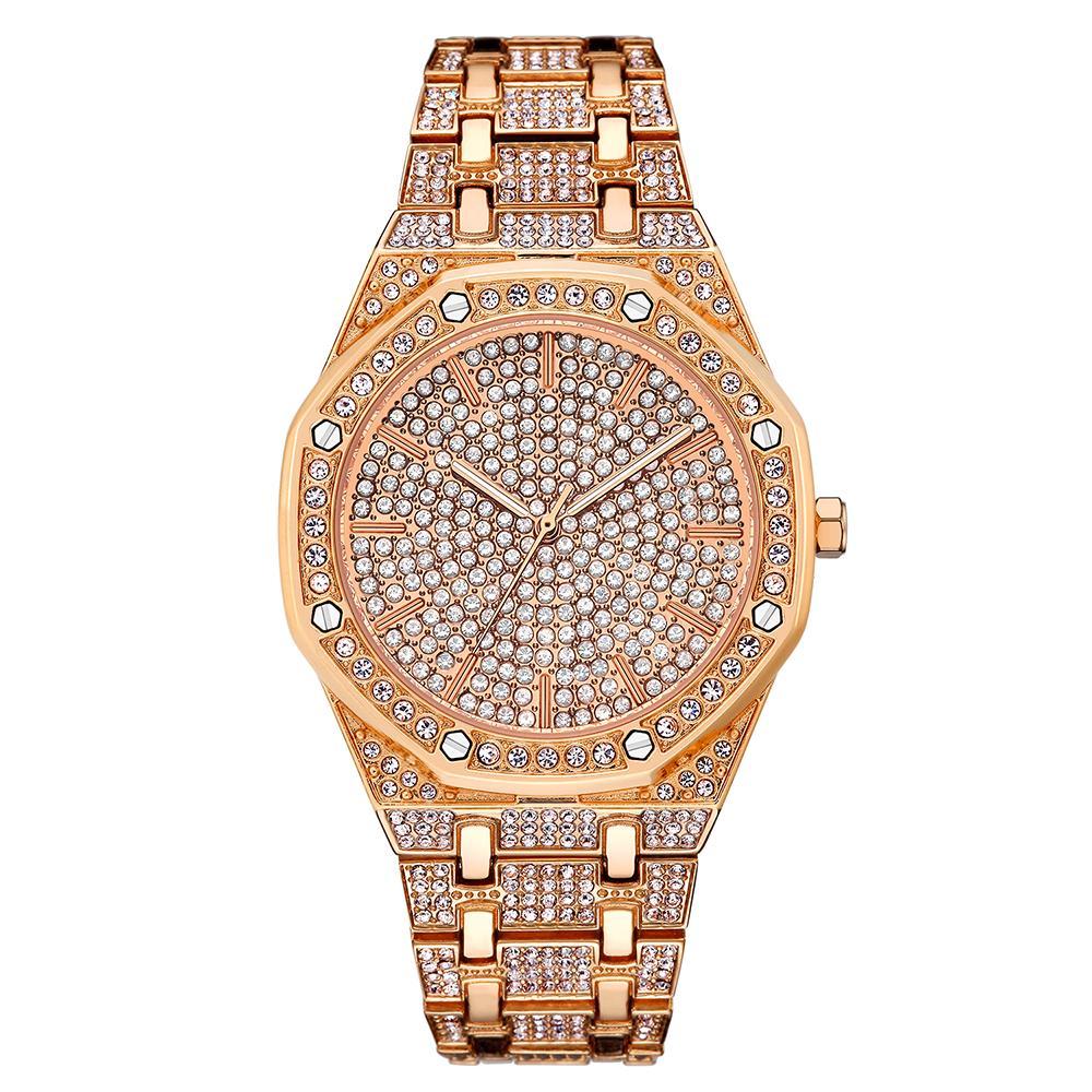 5d42aa6c002 Compre Novas Mulheres De Luxo Assistir As Mulheres Se Vestem Relógios Moda  Rosa De Ouro De Quartzo Das Senhoras Relógio Grande Dial Strass Relógios De  Pulso ...
