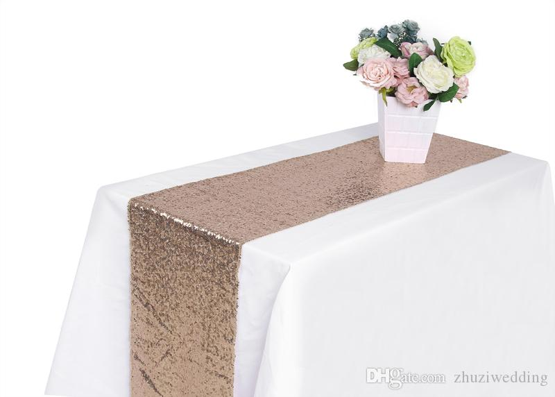 1pcs 30cm*275cm 12 inchx108inch Champagne Sequin Fabric Table Runners Sparkly Bling Table Runner Wedding Party Decorations
