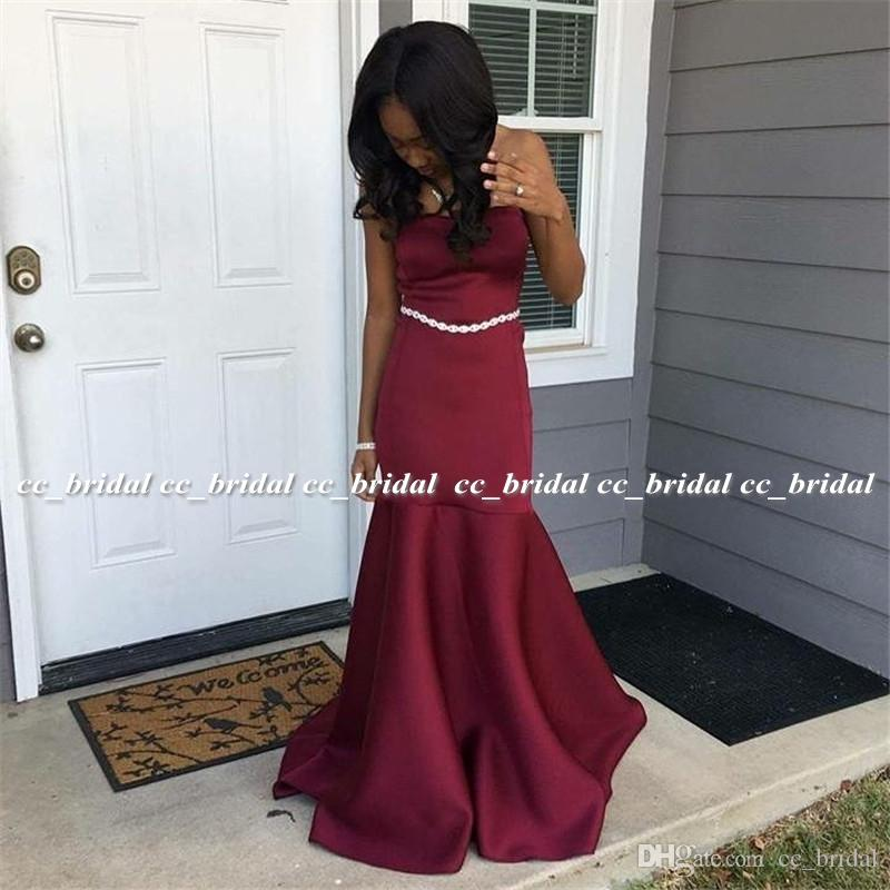 Burgundy Mermaid African Evening Dress 2019 Luxury Satin Graduation ...