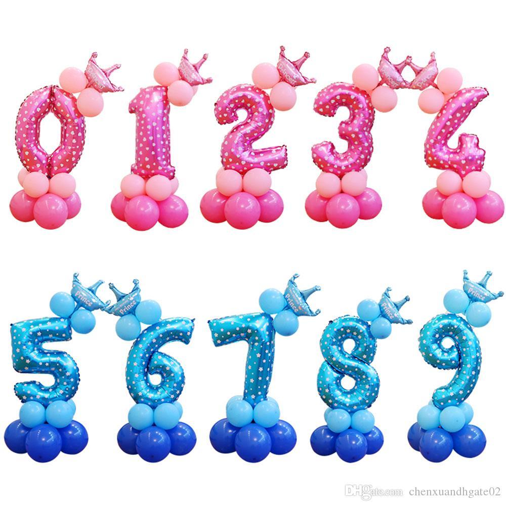 Grosshandel 13 Teile Satz Geburtstag Ballons Blau Rosa Anzahl