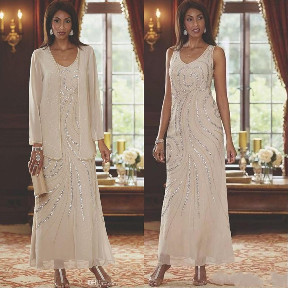 Elegant V Neck Mothers Dresses 2020 Two Pieces Beaded Wedding Guest Ankle Length Mother Of the Bride Dresses With Long Sleeves Jacket