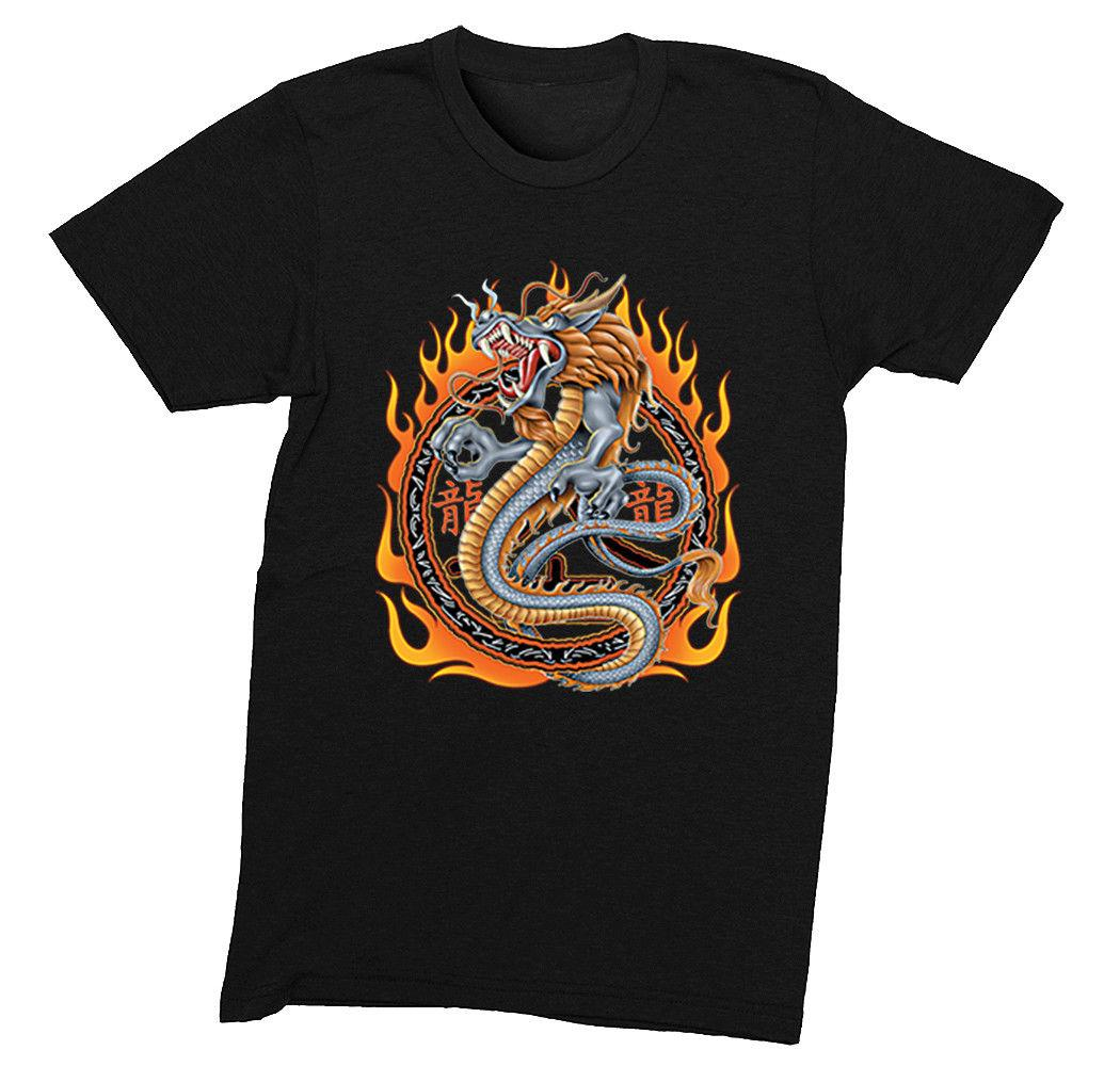 Mens Circle of Fire Dragon Asian Chinese Japanese Art Tattoo Crewneck  T-Shirt cattt windbreaker Pug tshirt