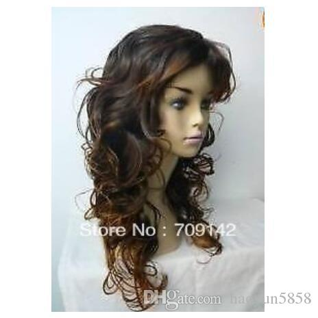 Freedom deliver made no lace Kanekalon wigs Cos Long Stylish long Light brown Women's Curly Cosplay wig