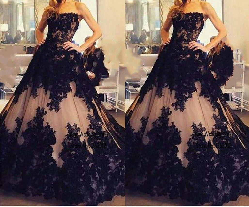 Gothic Black and Champagne Lace Applique Wedding Quinceanera Dresses Formal Ball Gowns Custom Plus Size