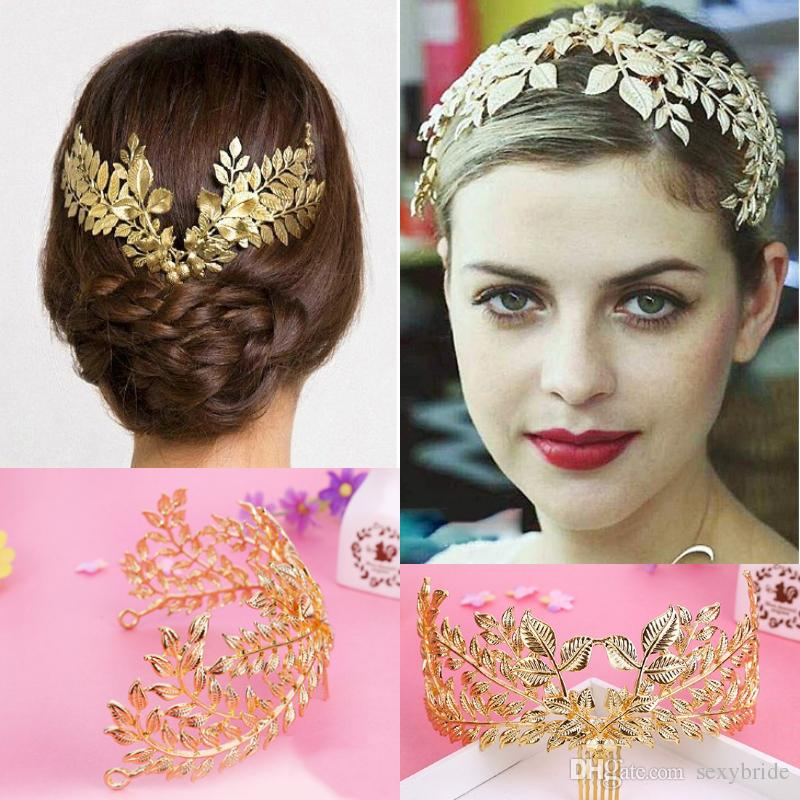 Handmade Boho Gold Leaf Tiaras Wedding Hair Combs Headband Bridal Headpieces Wedding Accessories Women Prom Evening Hair Jewelry F5108