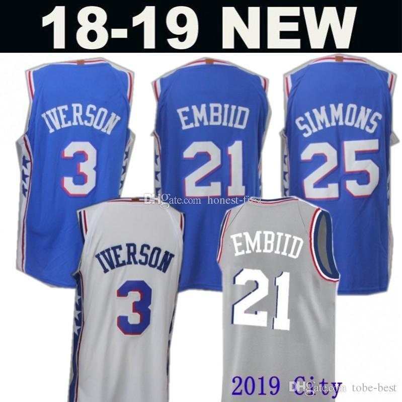 76ers 21 Joel Embiid 2019 City Basketball25 Ben Simmons New ... 0a284f55a