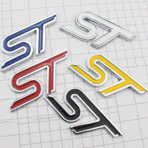 Car Metal 3D ST Rear Trunk Lid Emblem Badge Decal Sticker For Ford Focus  Mondeo Custom