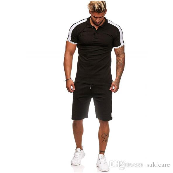 Mens New Fashion Tracksuits Striped Stitching Hip Hop Sports Muscle Fitness Clothing Male Polo Lapel Shirt Suit with 6 Colors
