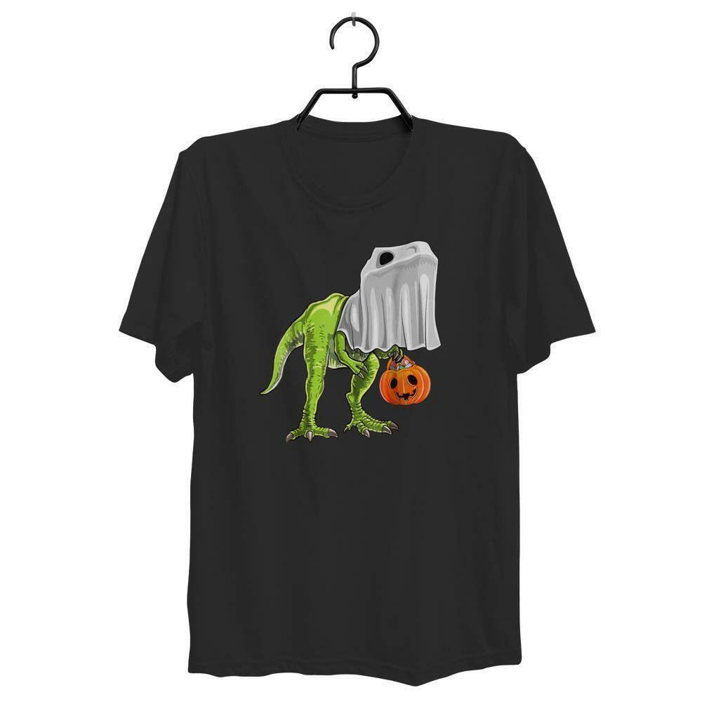 295cdfaeb4 TRICK OR TREAT WOMAN'S AND MAN'S HALLOWEEN DINOSAUR GHOST T REX SHIRT  ZM1Funny free shipping Unisex Casual Tshirt top