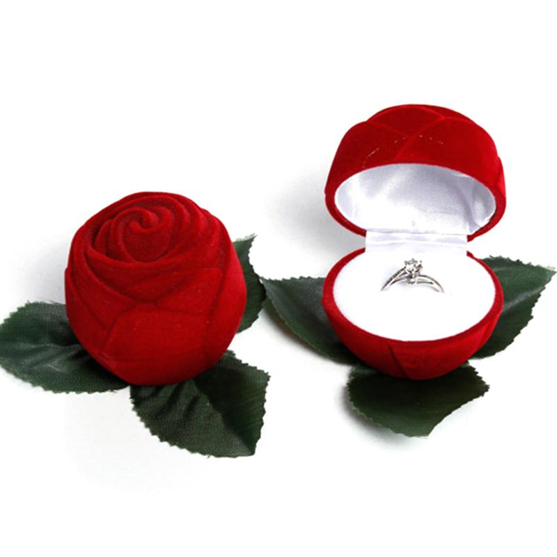 Good Beautiful and romantic Artificial Flower Red Rose head Jewelry Box Wedding Ring Gift Case Earrings Storage Display Holder