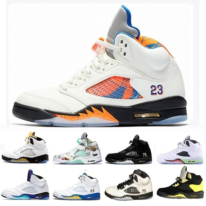 With Box High Quality Satin Bred Fresh Prince 5 Wings 5s Psg Black Men Basketball Shoes Og White Grape Space Jam Mens Sports Sneakers
