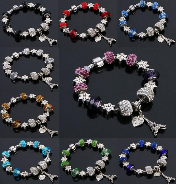 Best4UU 9 Colors Murano Glass&Crystal European Charm Beads Fits Charm bracelets Pandora Style Bracelet High quality jewelry Free Shipping