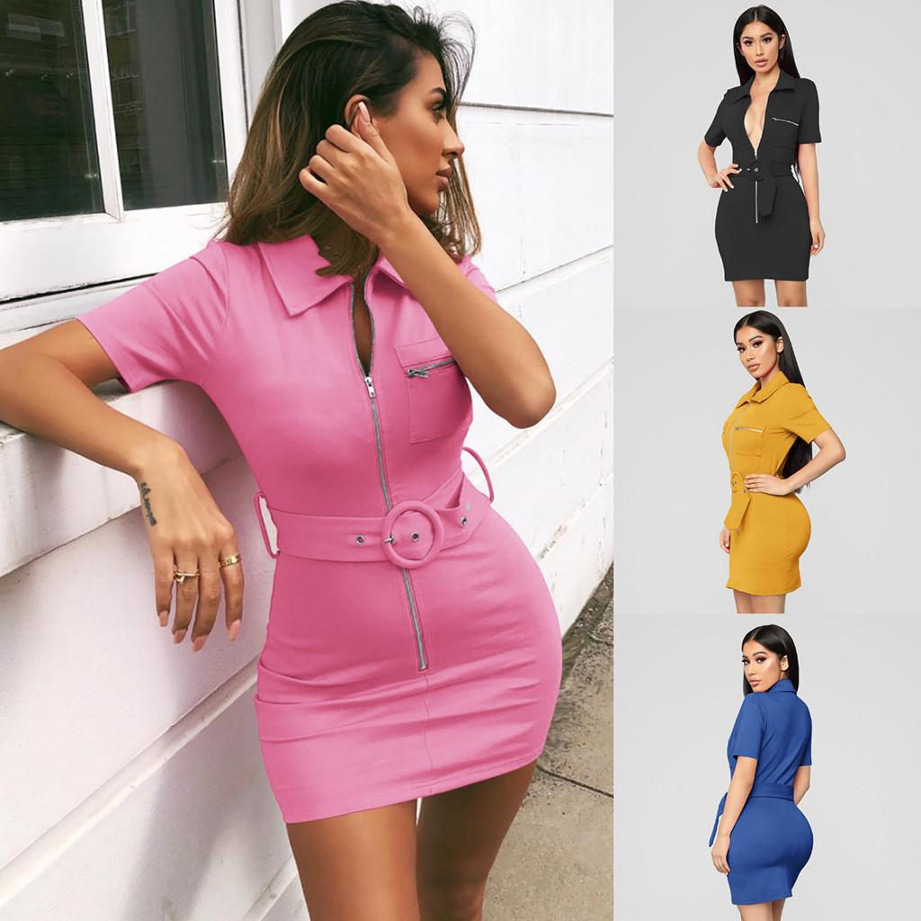 e3504d519bd33 Women Dresses Summer 2019 Womens Holiday Sexy Short Sleeve Solid Bodycon  Dress Beach Party Mini Dress Vestidos Free Shipping