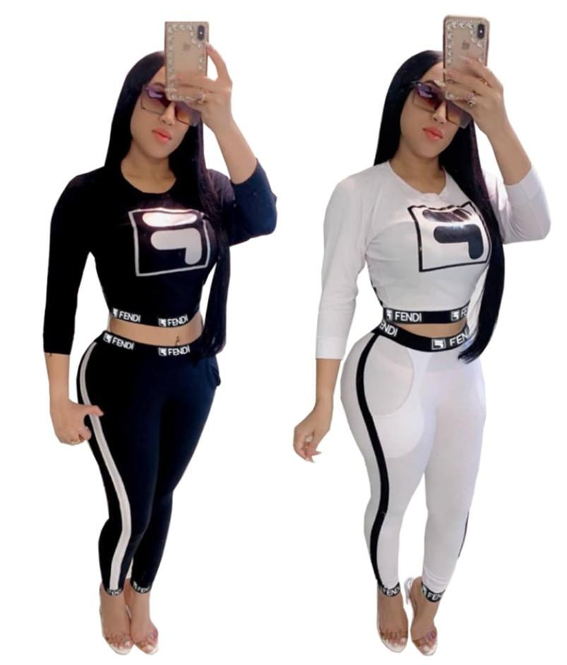 Brand Women Hoodies 2 Piece Set Tops+Pants Sports Suit Pullover+Leggings Outfits Letter Tracksuit Fall Winter Crop Top Sweatsuit 1678