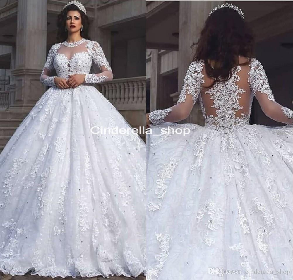 41e6e5e9a04 Gothic Long Sleeves Wedding Dresses Ball Gowns 2019 Illusion Body Lace  Appliques Beaded Gorgeous Bridal Gowns Vestido De Novia Wedding Dress Gowns  Wedding ...