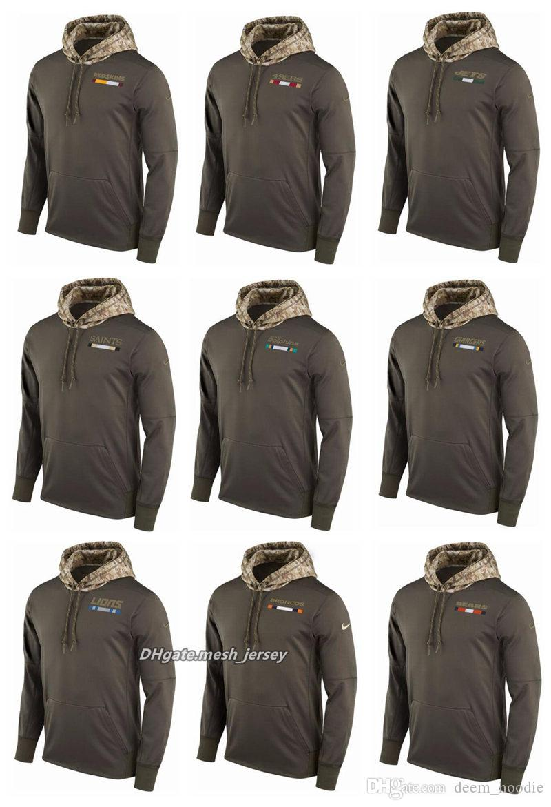 timeless design 76ed3 73c4a Men Women Redskins 49ers Jets Saints Dolphins Chargers Lions Broncos Bears  Salute to Service 2017 Therma-FIT Performance Hoodie