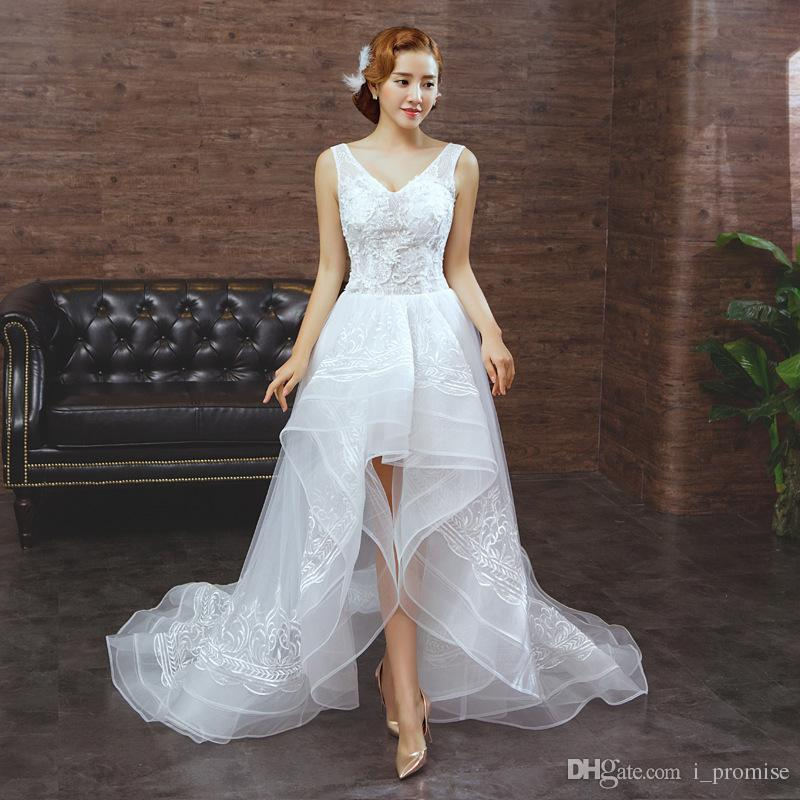 Discount Unique Country Style High Low Wedding Dresses A Line V Neck ...