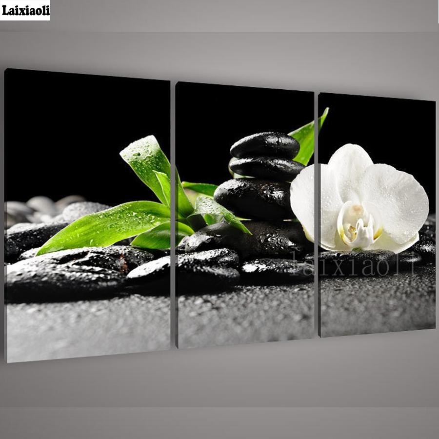 3 pcs,3D Diamond Painting Orchid Stones,Crystal Square Rhinestone Picture Cross Stitch Kits,Multi-picture,diy Diamond Embroidery