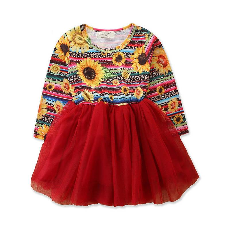 Christmas floral girls dresses kids clothes girls long sleeve dress lace kids princess dress kids clothes A8139