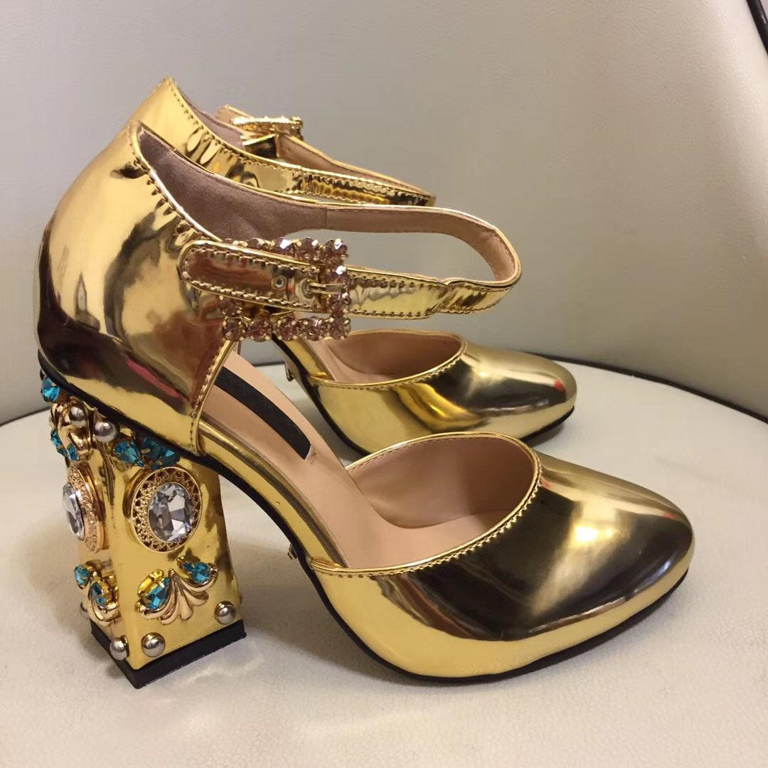 Luxury Womens Velvet High Heels Rhinestone Shoes T Strap Gown Mary Janes Shoes