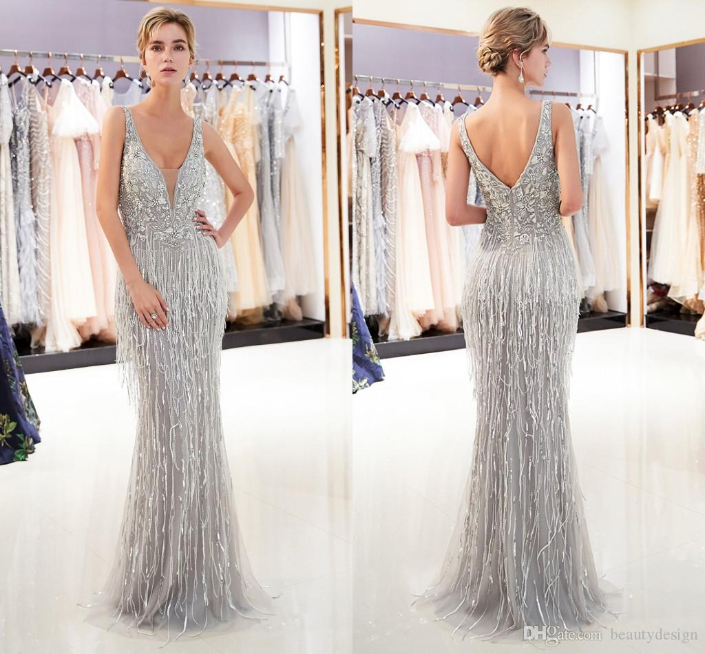 6939a8c9ba 2019 Gorgeous Gray Gold Mermaid Designer Evening Dresses Luxury Beaded Sexy  Deep V Neck Womens Formal Occasion Wear Prom Party Gown CPS1167 Plus Size  Prom ...