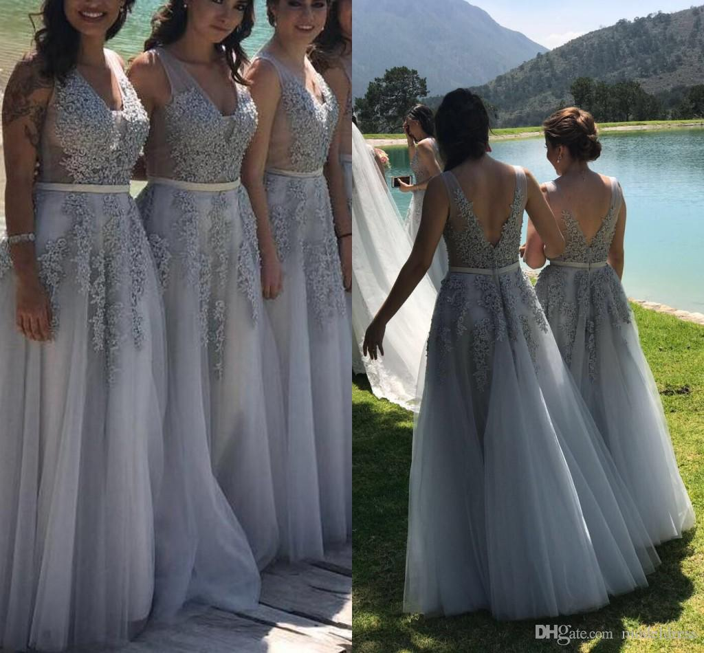 ffae8be52bb Silver Crystal Bridesmaid Dresses 2019 V Neck Backless Floor Length  Appliques Garden Country Beach Wedding Guest Gowns Maid Of Honor Dress  Raspberry ...