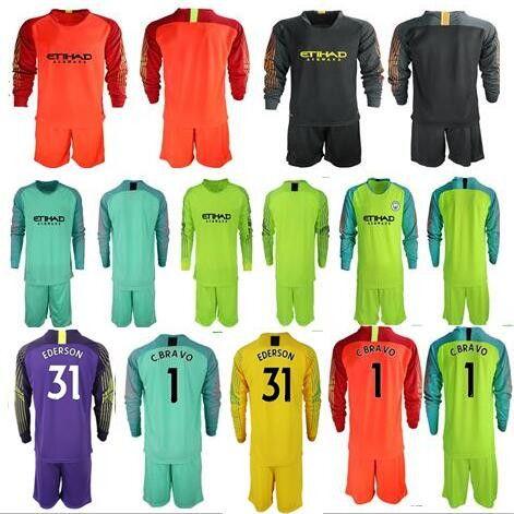 buy online 8c3df 76171 2018/19 Soccer jerseys goalkeeper kit GK Shirt Man #1 C.BRAVO EDERSON #31  Goalie uniform City football KUN AGUERO Long Sleeve soccer kit