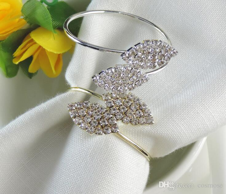 Leaf Shape Napkin Ring Diamond Exquisite High-End Silver Leaf Shape Napkin Rings Metal Napkin Holder Party Wedding Decoration