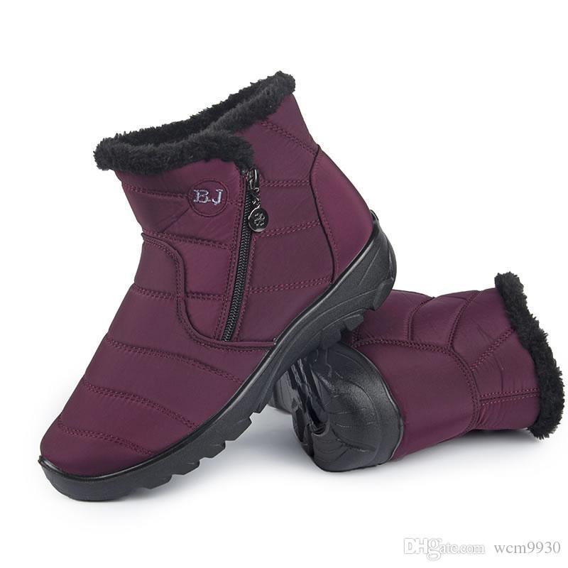 6ec89be1c Compre Botas De Mujer 2019 Nuevas Botas De Nieve Para Las Mujeres Zapatos  De Invierno De Piel Caliente De Felpa Botas De Invierno Impermeables  Zapatos ...