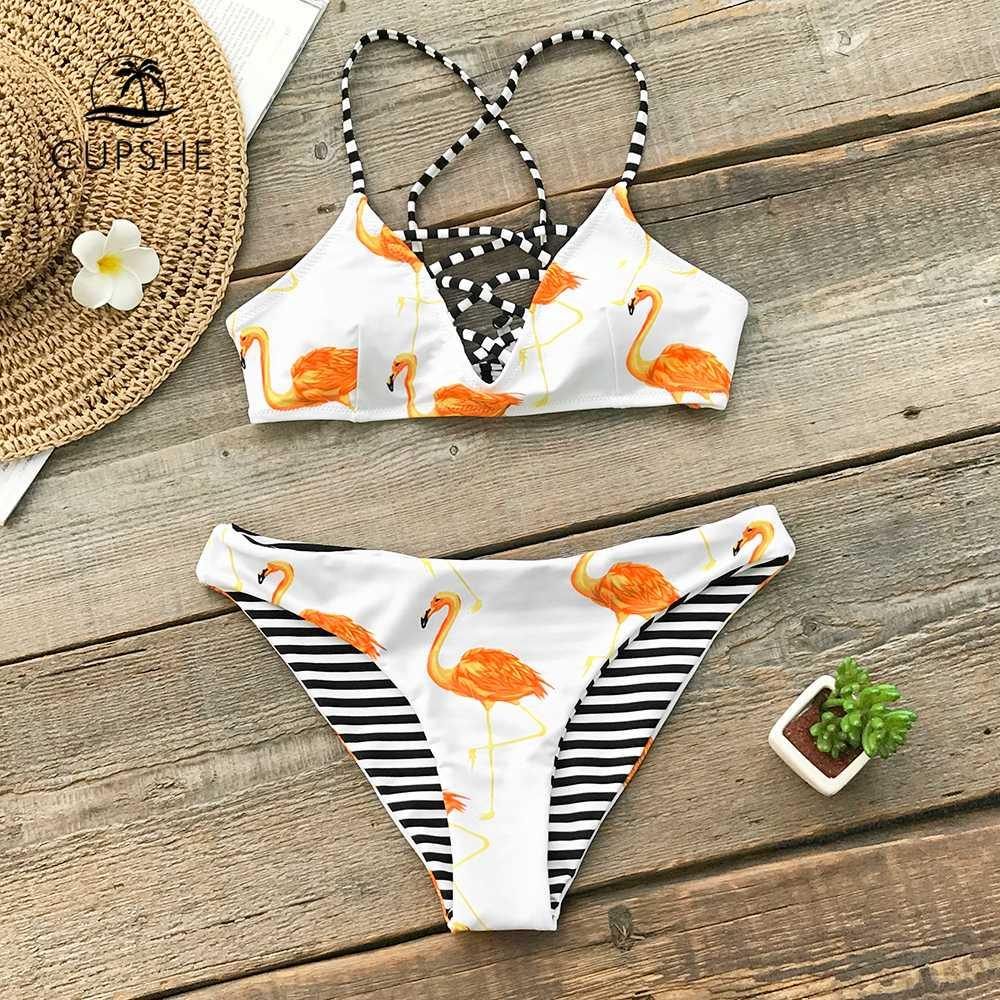 b654099944 2019 CUPSHE Orange Flamingo Reversible Bikini Sets Women Lace Up Thong Two  Pieces Swimsuits 2019 Girl Sexy Bathing Suits From Xx2015, $25.2    DHgate.Com