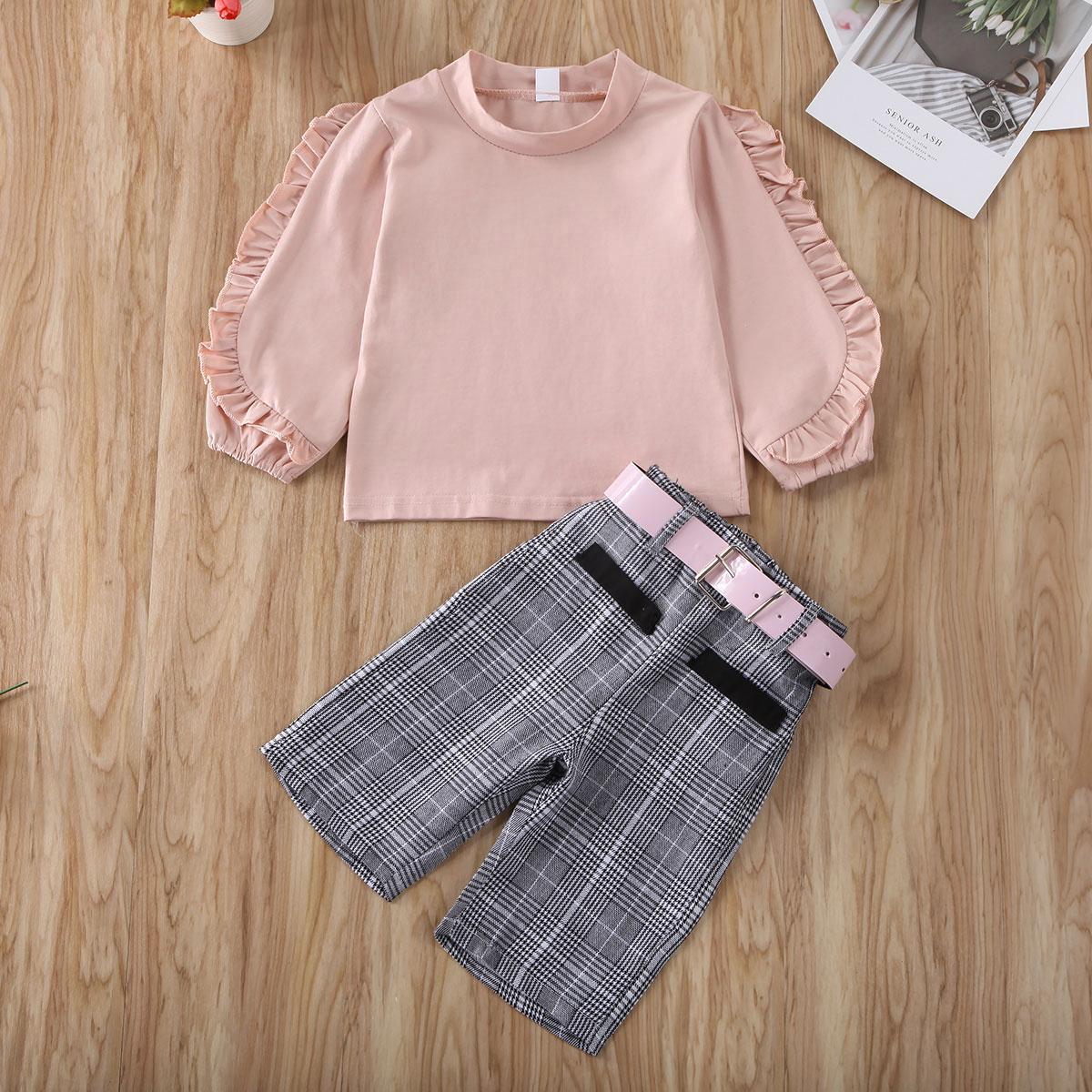 Pudcoco Kleinkind-Baby-Kleidung Solid Color Langarm Rüschen Tops Plaids kurze Hosen Gürtel Outfit Baumwollkleidung Set