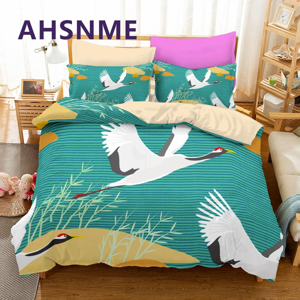 AHSNME Flying Crane Duvet Cover 2/3pcs High Digital Bedding Set Queen Size Birds Double Bed Sets Toucan Quilt Cover