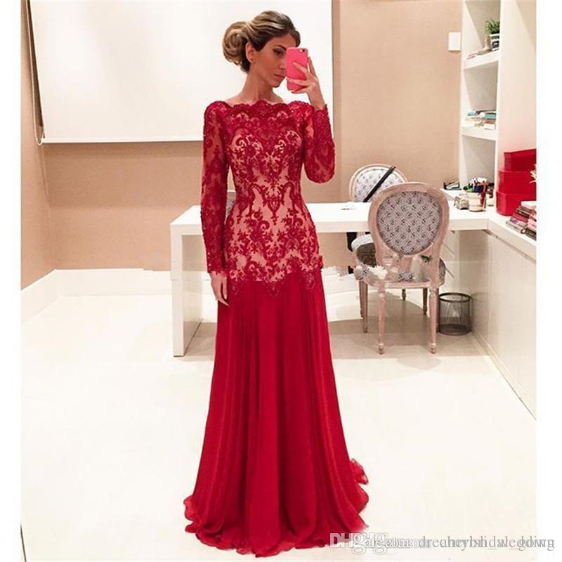 ebe6963667 Compre Vestidos Largos De Color Rojo Para La Madre De La Novia Sirena  Bateau Formal Mangas Largas Vestido De Gasa Para La Madre Del Novio Vestido  De Fiesta ...