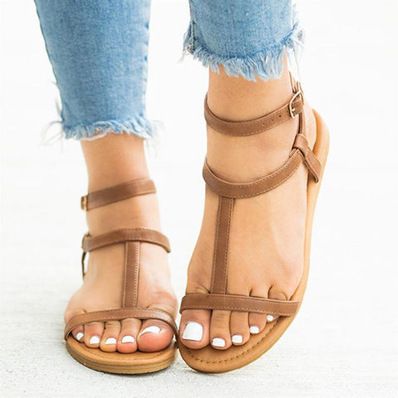 92cec7729491 Rimocy Summer Women Sandalias 2019 Rome Style Plus Size 35 43 Beach Casual  Sandals Flat Heels Gladiator Shoes Woman Flip Flops Red Wedges Summer Shoes  From ...