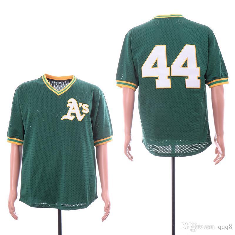 2019 Cheap Mitchell   Ness Oakland  44 Reggie Jackson Jersey Green Retro  Mens Stitched Baseball Jerseys From Qqq8 c19caf33473