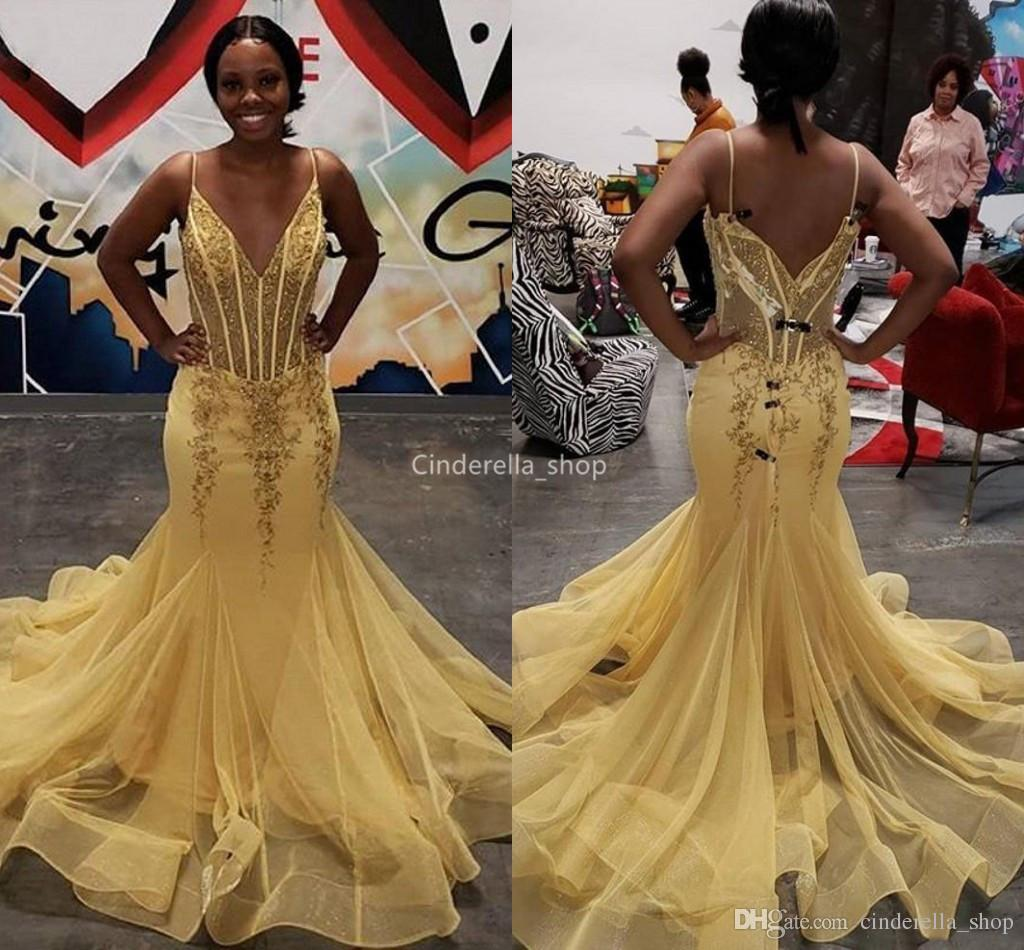 30e81b66cce7 Charming Yellow African Mermaid Long Prom Dresses Deep V Neck See Through  Appliques Sequined Celebrity Party Gowns Robe De Soiree Beautiful Gowns  Blush Prom ...