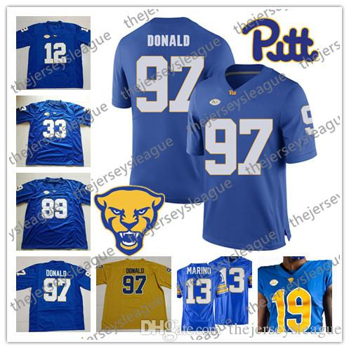 promo code f8668 07591 Pittsburgh Panthers Pitt 2019 #12 Paris Ford 33 Tony Dorsett 89 Mike Ditka  97 Aaron Donald Stitched Navy White Royal NCAA Football Jerseys