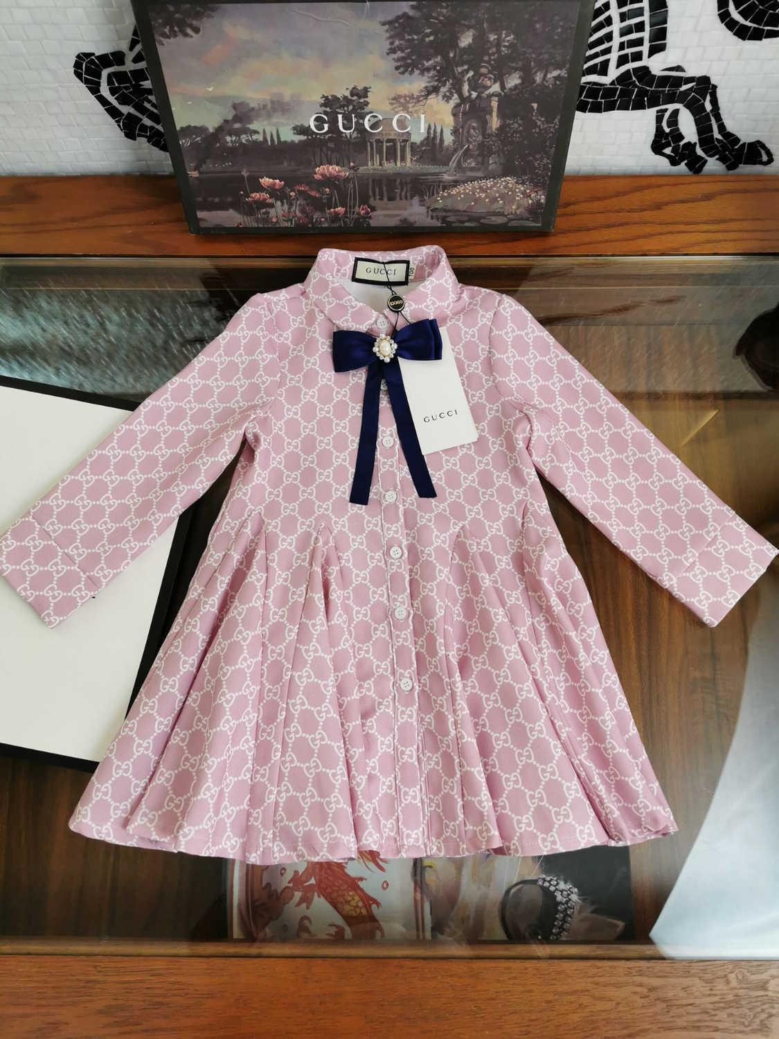 Girls dress kids designer clothing autumn covered letter pattern dresses polyester fabric design slim version dresses