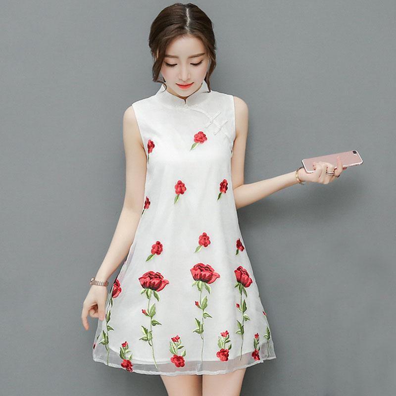 79765314036 Women Summer Dress Sleeveless Rose Embriodery Dress Plus Size Women Clothing  A Line Party Dress Plus Size Dresses Dresses for Women Summer Dresses Online  ...