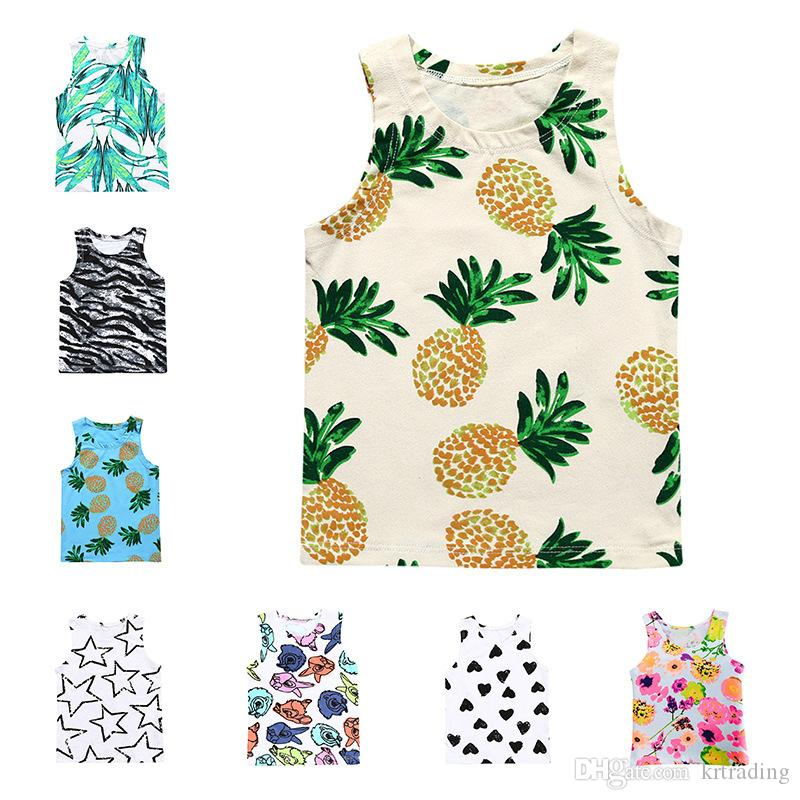 Baby sleeveless T shirt 13 styles fashion fuits zebra stars flower leaves printing vest cute ins hot baby summer vest pineapple deer
