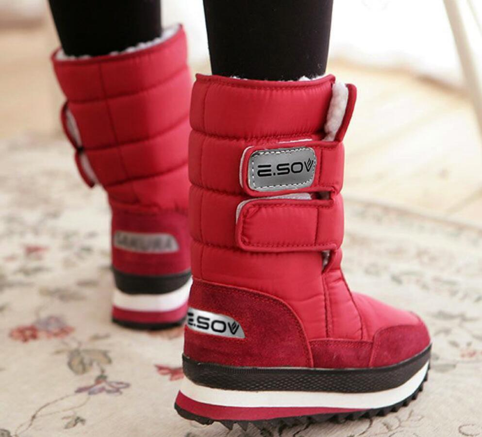 52263e0273ab Female Snow Boots Winter Boots Women Flat Waterproof 2018 Shoes Botas Mujer  Botas Femininas De Inverno Black White Plus Size Ladies Boots Cheap Boots  From ...