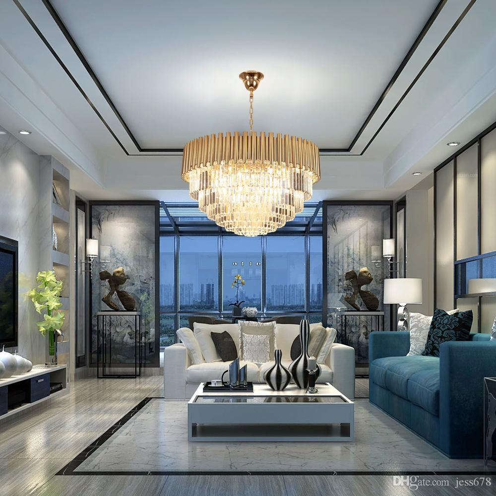 Top luxury modern chandelier crystal light living room dining room gold steel lighting fixtures led lustres de cristal