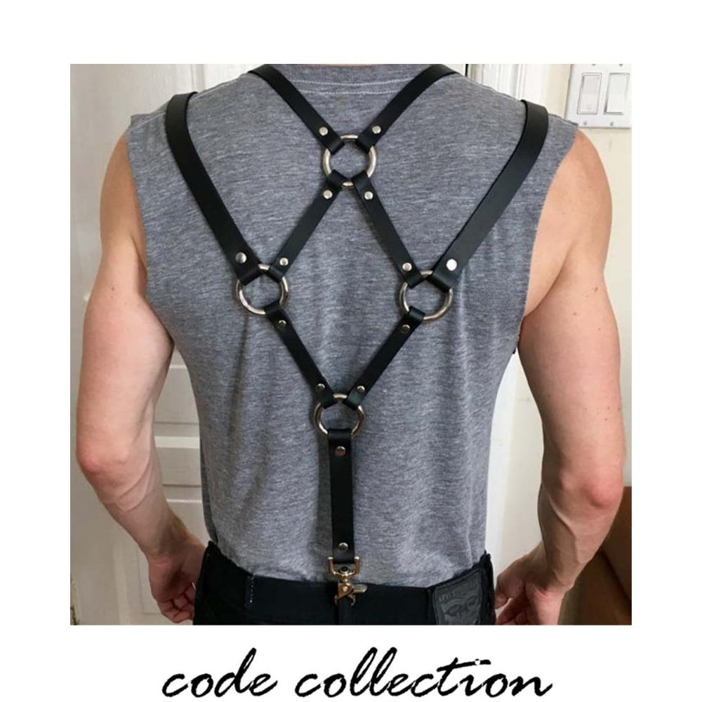 Vintage Retro Leather Suspender Male Braces Belt For Men Women Skirt Unisex Bib Short Hook Leisure Punk Binding Band Sexy Dark