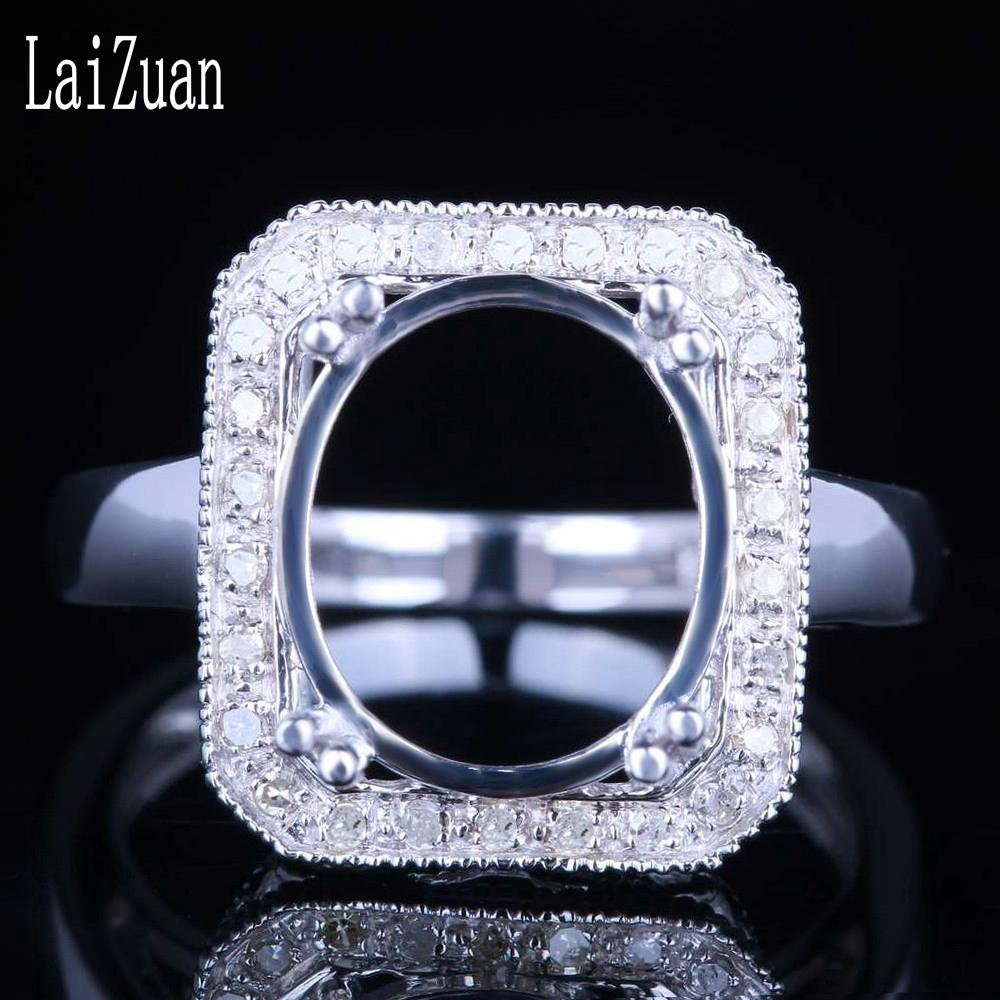 LaiZuan Oval Cut 10x12mm Sterling Silver 925 Real Natural Diamonds Engagement Wedding Semi Mount Ring Setting Vintage Jewelry