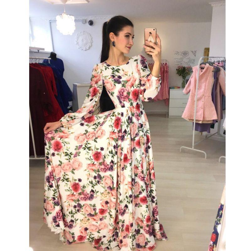 ba139dc844 Compre Elegante Moda Formal Vestido Dulce Para Mujer Damas De Manga Larga O  Cuello Delgado Estampado Floral Vestido Largo Hasta La Cintura A  32.07 Del  ...