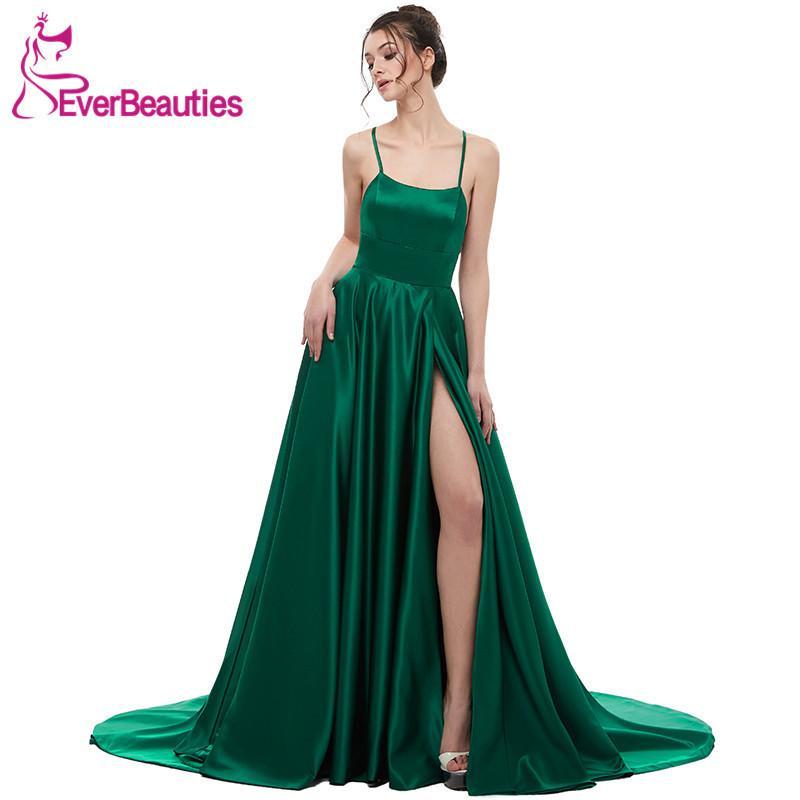 d598b5858594 Vestido de noche verde 2019 Una línea de satén con correas espaguetis  Vestido largo de fiesta de graduación Lado partido Vestidos de noche ...